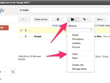 Click the Move To button then select Inbox.