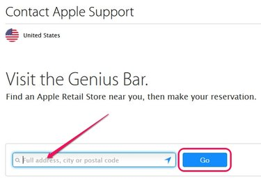 If your browser supports location-aware browsing, click the Go button without entering an address in the Search bar.