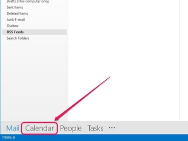 Outlook switches to Calendar view.