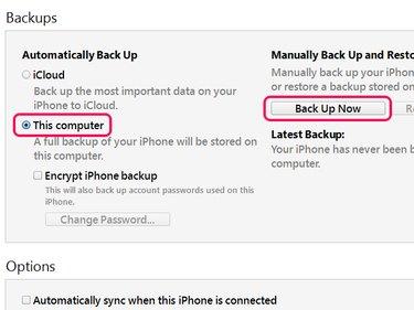 Backup settings.