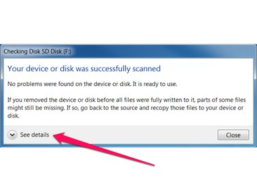 Check Disk results dialog