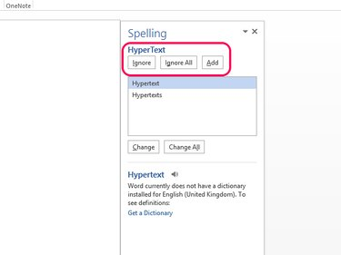 Use the Ignore, Ignore All and Add buttons if spell check makes a mistake.