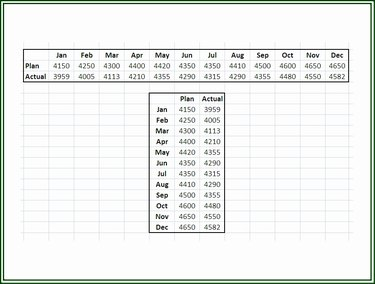Enter data on an Excel worksheet in adjacent rows or columns.