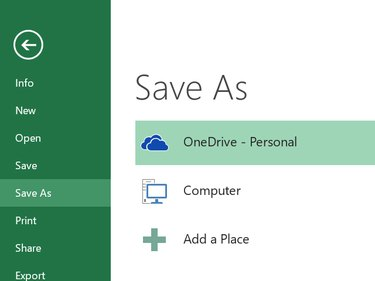 Select OneDrive from the Save As menu.