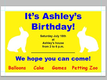 a brightly-colored birthday party invitation