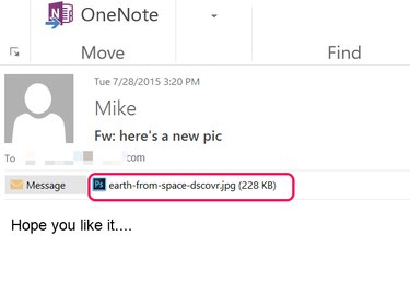 Click the attachment name to preview an image in Outlook.