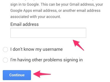 Enter Gmail address and press Continue.
