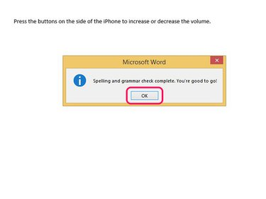 Select OK when you've finished checking the document.