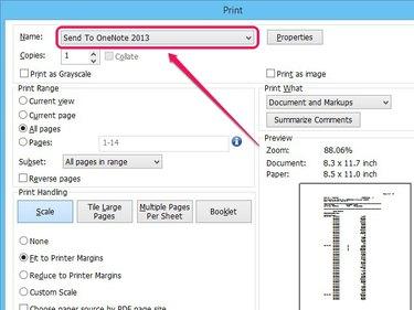Select OneNote printer and convert PDF.