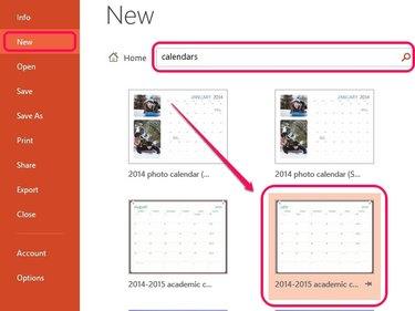 Search for calendar templates.