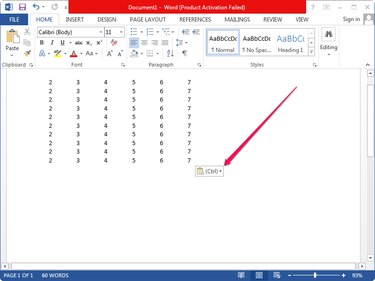 Pasting data from the clipboard into the Word document.