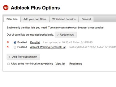Adblock Options panel (Chrome)