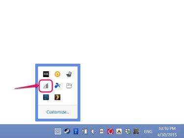 Taskbar showing networking icon