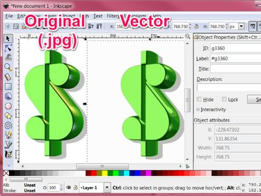 The new traced vector image is copied into the Inkscape main window next to or on top of the original jpg image; the quality and colors of the traced vector image may not exactly match the original image