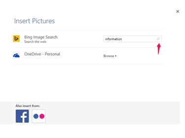 Search for information in the Insert Pictures menu.