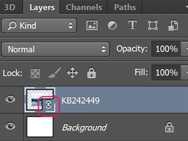 This icon on the layer thumbnail indicates a Linked Smart Object.