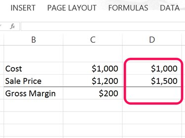 In this example, we're calculating gross margin for Column D.