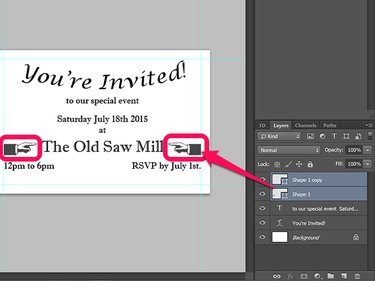 Layers panel with a completed invitation