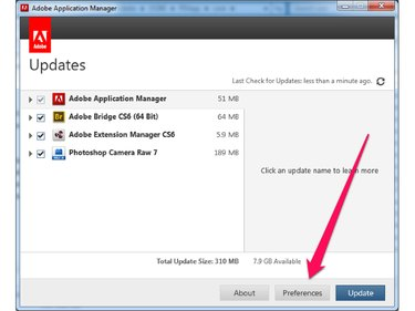 Click the Preferences button in the Adobe Application Manager