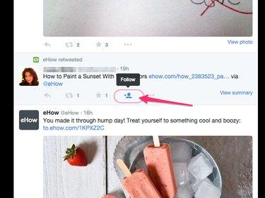 Click the Follow icon beneath the tweet