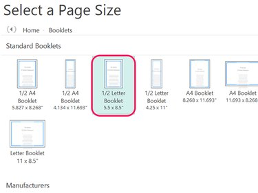 Select a booklet size that works with your paper stock.