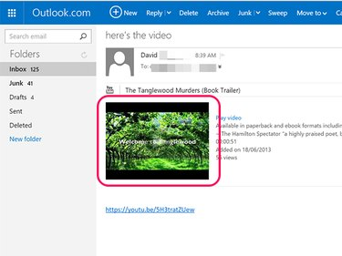 YouTube embed links work when you send them to Hotmail addresses.