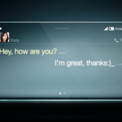 Sms chat on transparent tablet with blue background