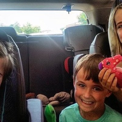 Kids in the backseat of a car