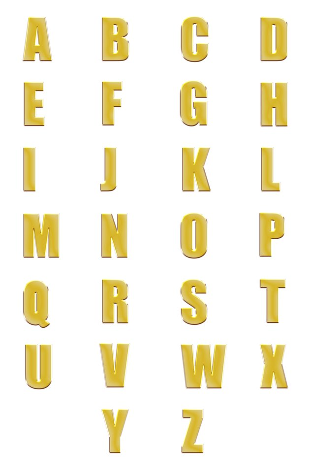 golden fonts set or collection isolated