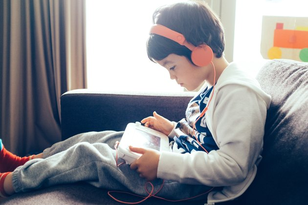 Young boy playing a computer game
