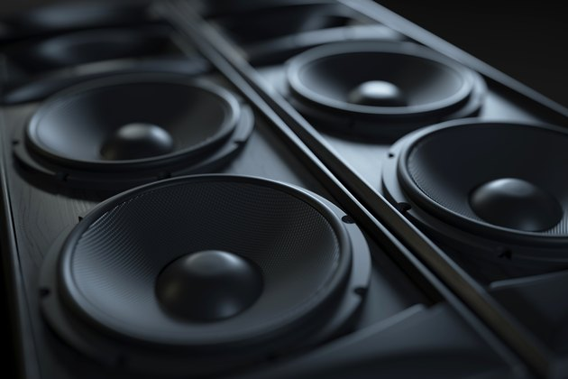 Hi-Fi acoustic sound system closeup.
