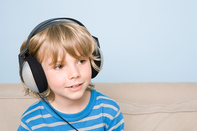 A boy listening to music