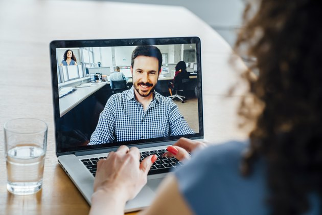 Business people on video conference