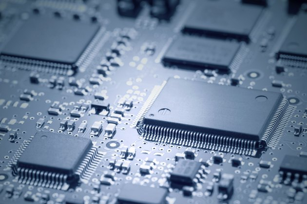 Electronic chips mounted on motherboard