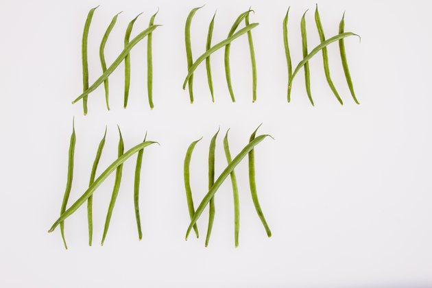 String beans in tally chart against white background