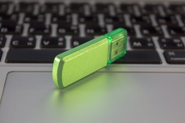 flashdrive on notebook