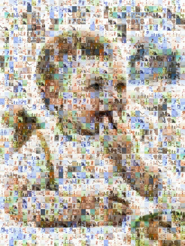 Child portrait made out of family imagery