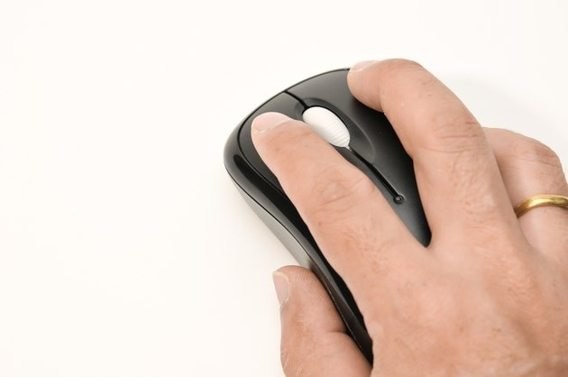 hand on wireless mouse