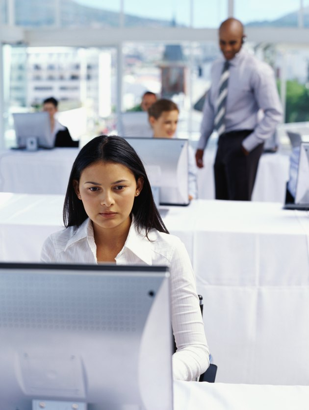 group of business executives working in a classroom
