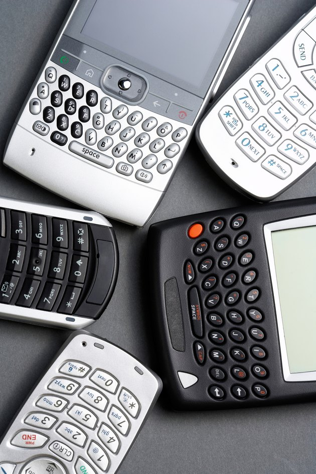 Assorted cell phones and PDAs