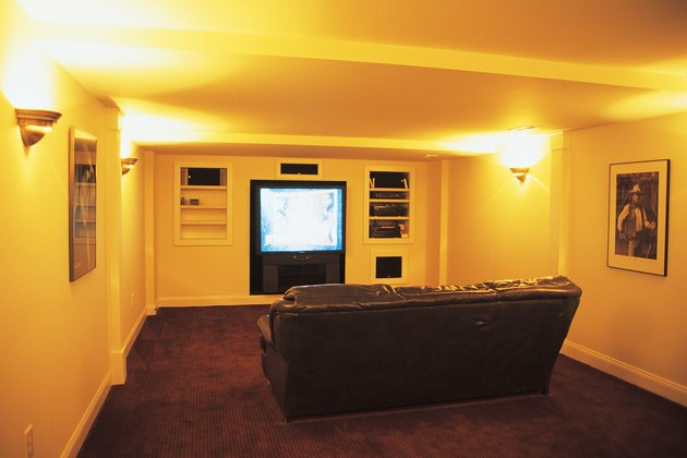 Home theater with large screen TV