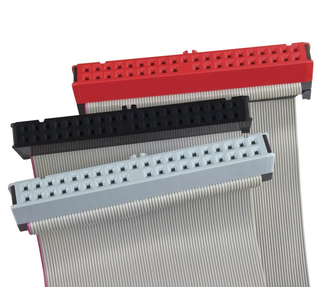 IDE hard drive connectors ribbon cables hdd PC computer isolated