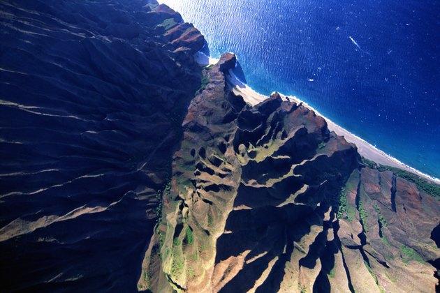 Aerial view of coast, Kauai, Hawaii