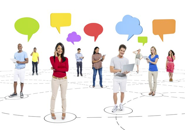 Group of People Communicate with Social Networking