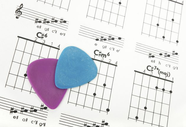 Guitar picks on a chords chart