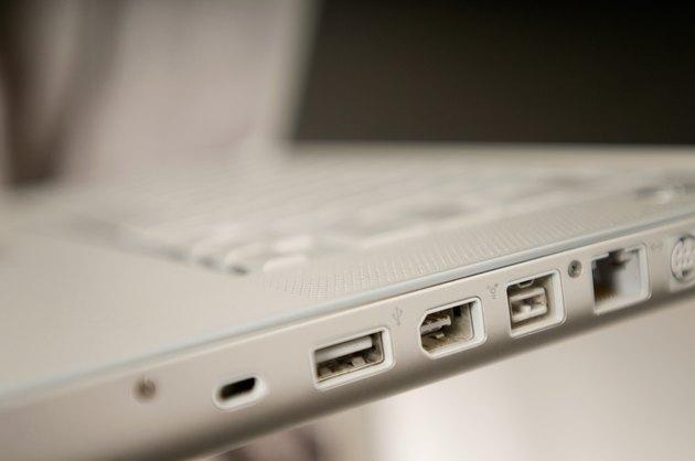 Ports along edge of laptop computer