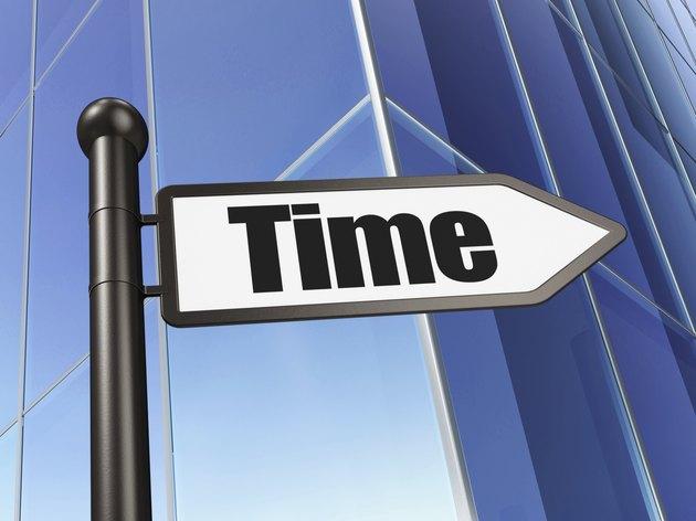 Timeline concept: sign Time on Building background