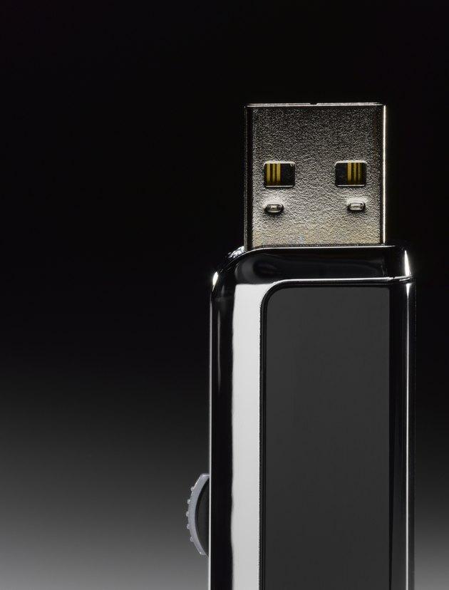 Black USB flash drive, close-up (still life)