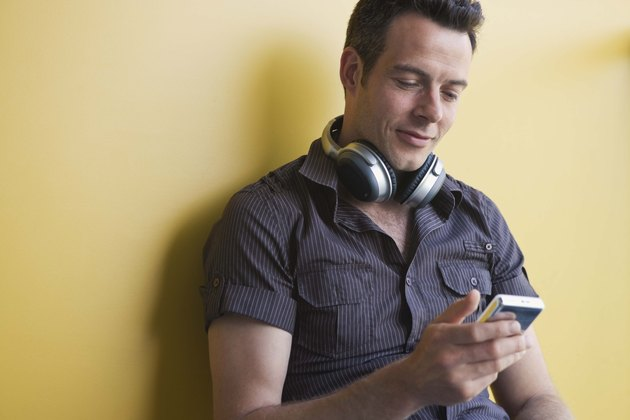 Man with digital music player