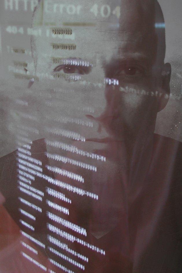 Man's portrait with computer code